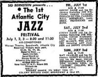 Atlantic city jazz festival 1960 flyer