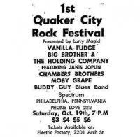 1st Quaker City Rock Festival 1968 Poster