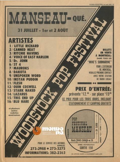 Festival Pop de Manseau 1970