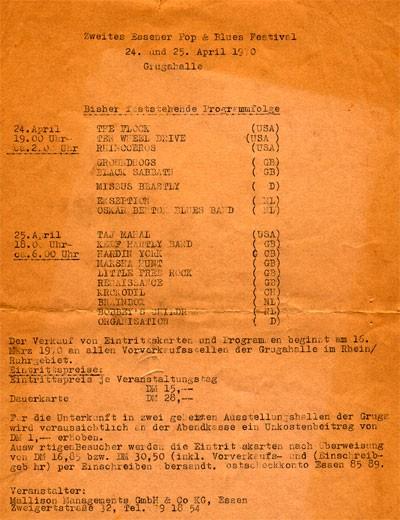 II. Essener Pop & Blues Festival 1970